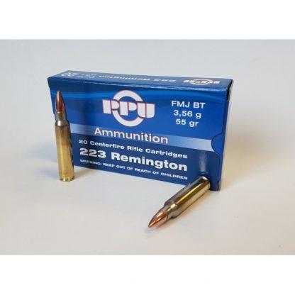Cartouches Partizan Cal. 5,56x45 / .223 Remington 55-Grs.FMJ BT x20
