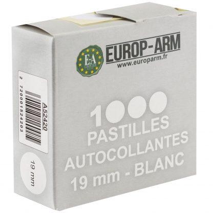 Pastilles autocollantes blanches diam. 19 mm