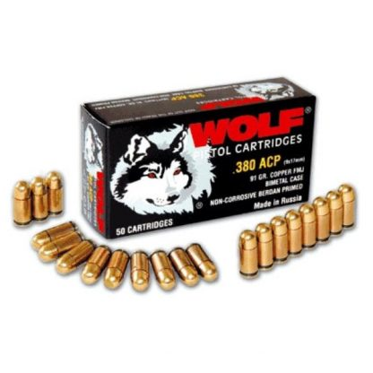 Cartouches Wolf Cal. .380 ACP (9mm court) 91 grs FMJ x50