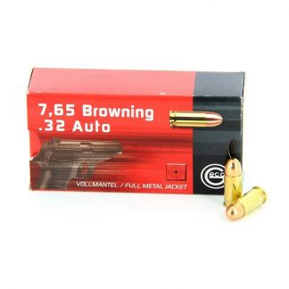 Cartouches Geco 7,65 Browning / 32 Auto 71-Grs FMJ x50